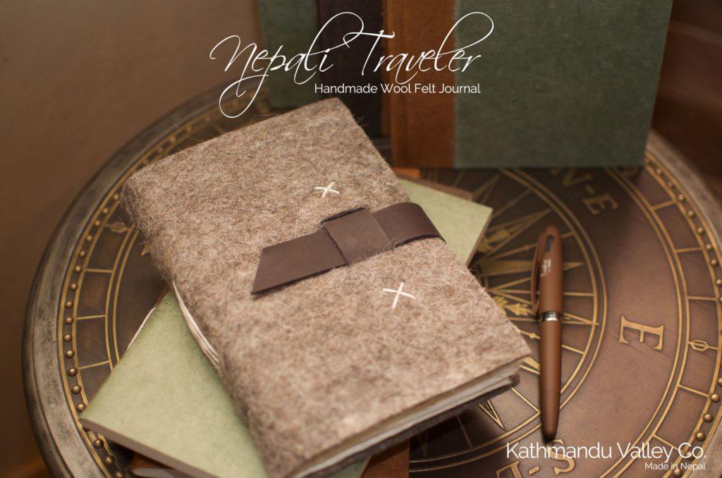 Nepali Traveler Natural Wool Felt Journal - Kathmandu Valley Co.