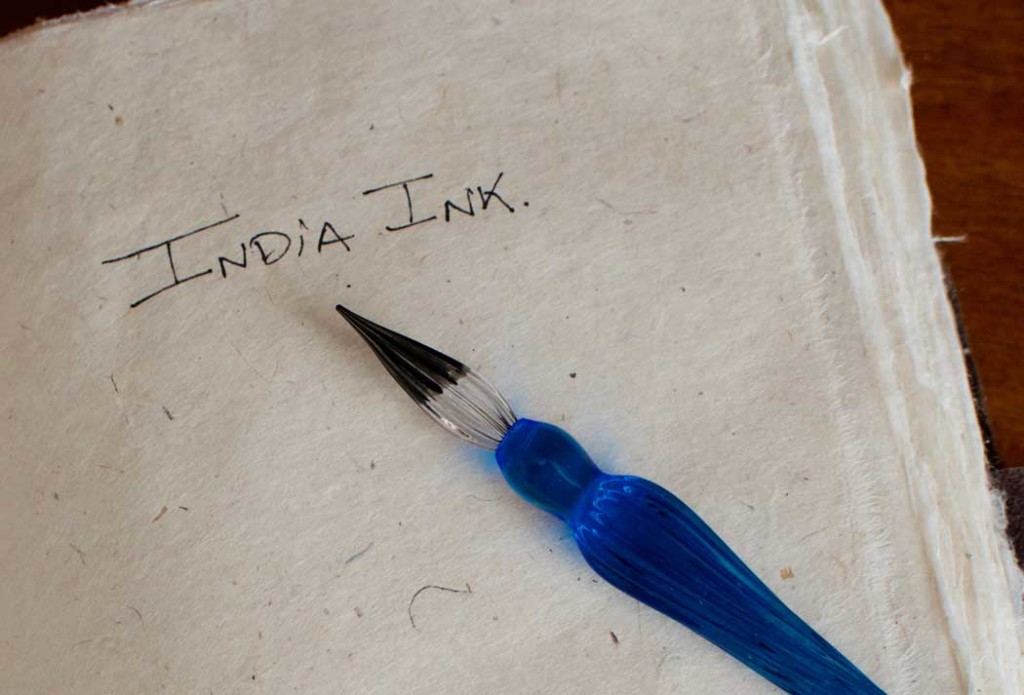 Glass Dip Pen on Lokta Paper with India Ink - KMVCO