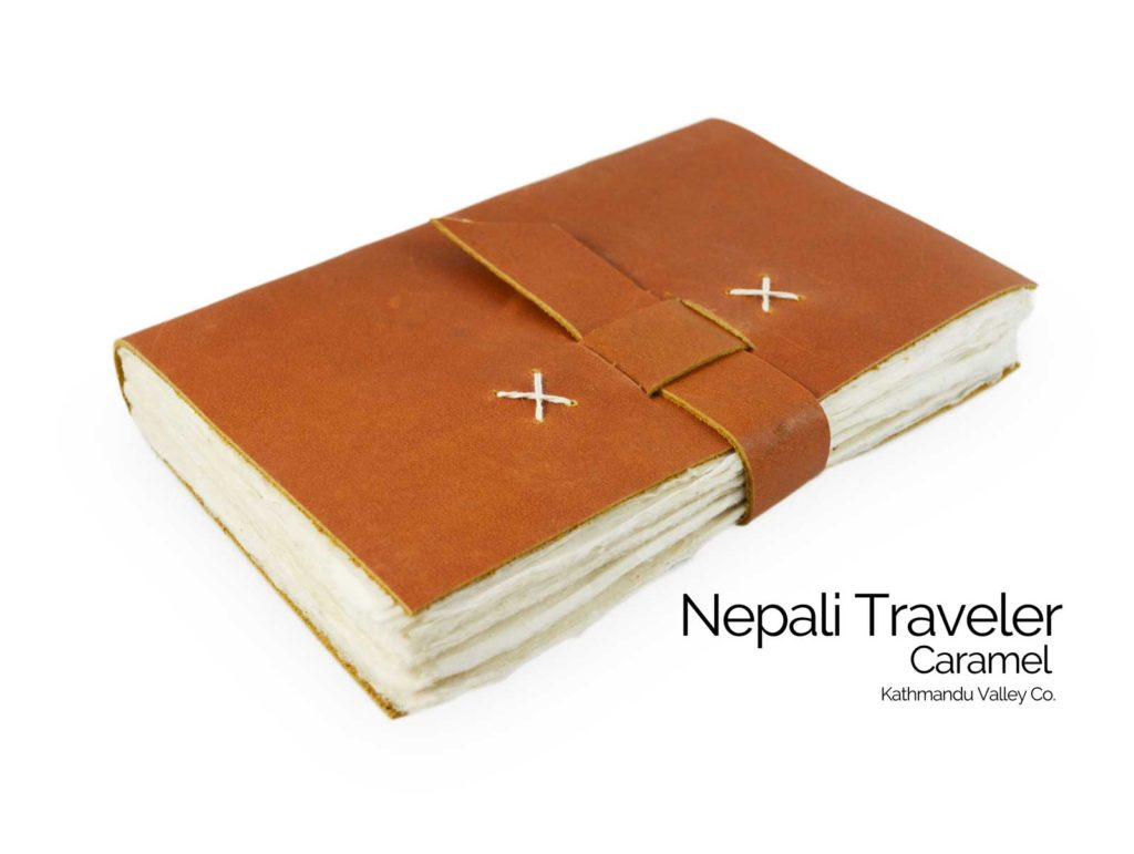 Nepali Traveler Rustic Leather Journal - with Lokta Paper Caramel Color