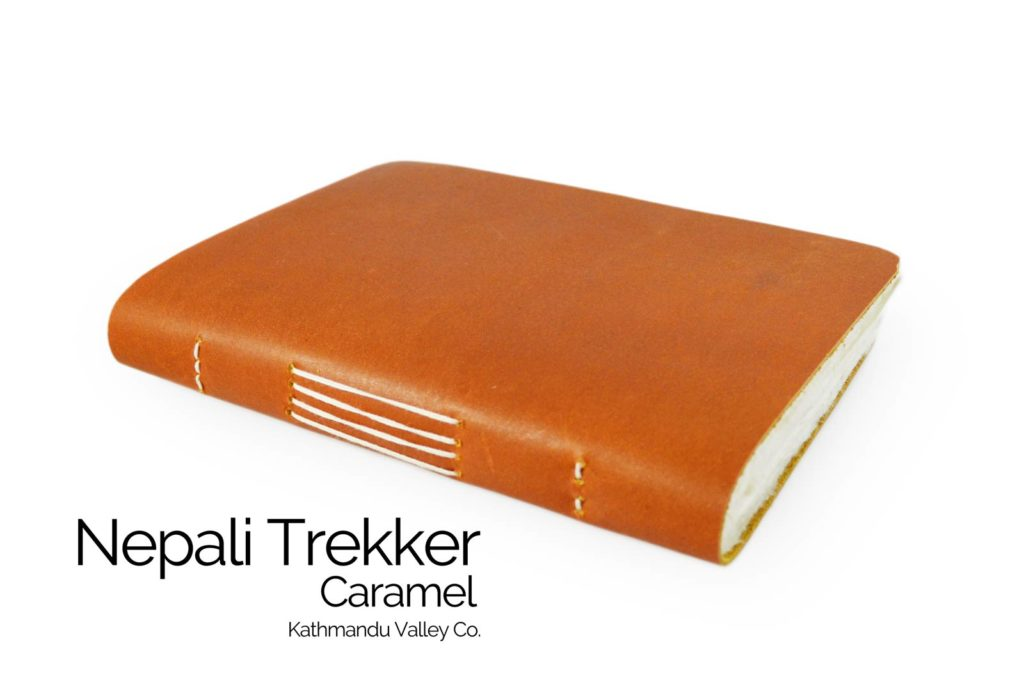 Nepali Trekker Rustic Leather Journal - with Lokta Paper Caramel Color