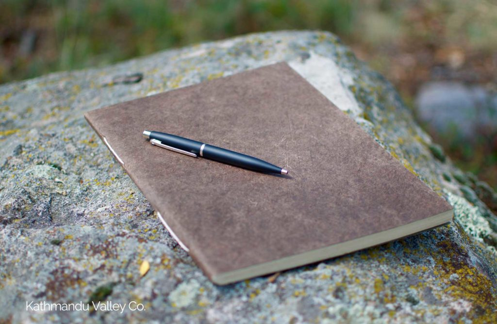 Nepali Companion Lokta Paper Notebook - Large Dark Walnut - Handmade in Nepal.