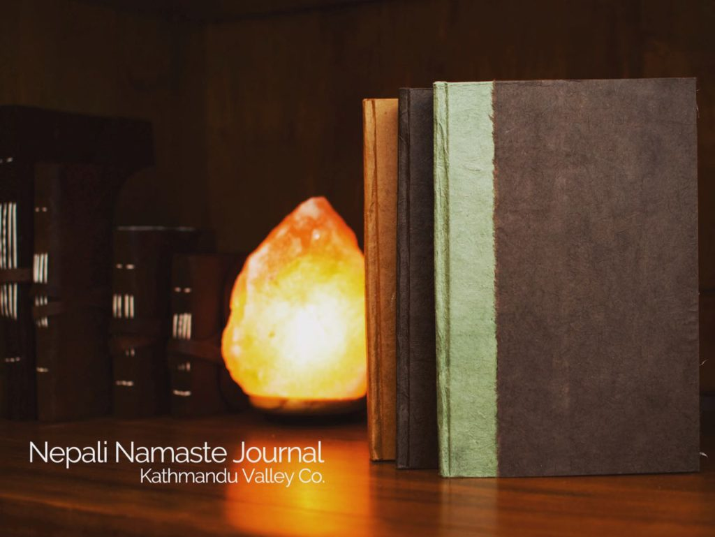 Nepali Namaste 6x9 inch vegetable-dyed journals by Kathmnadu Valley Co.