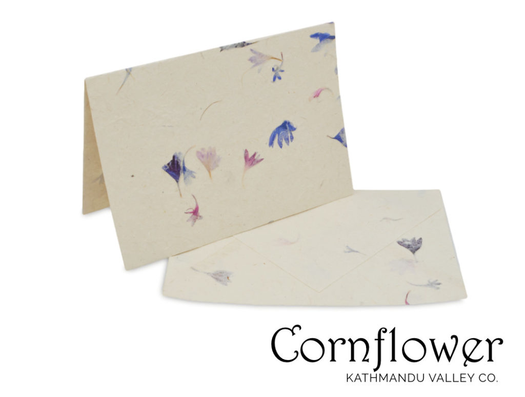 Nepali Cherish Natural Greeting Card Set Cornflower