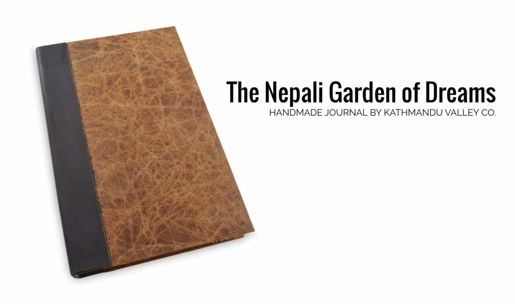 Nepali Garden of Dreams Journal Leather and Lokta Paper