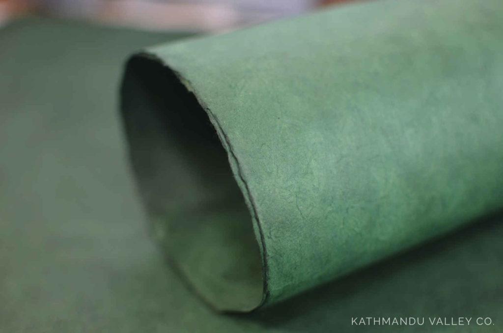 Solid Dark Green Natural Lokta Wrapping Paper