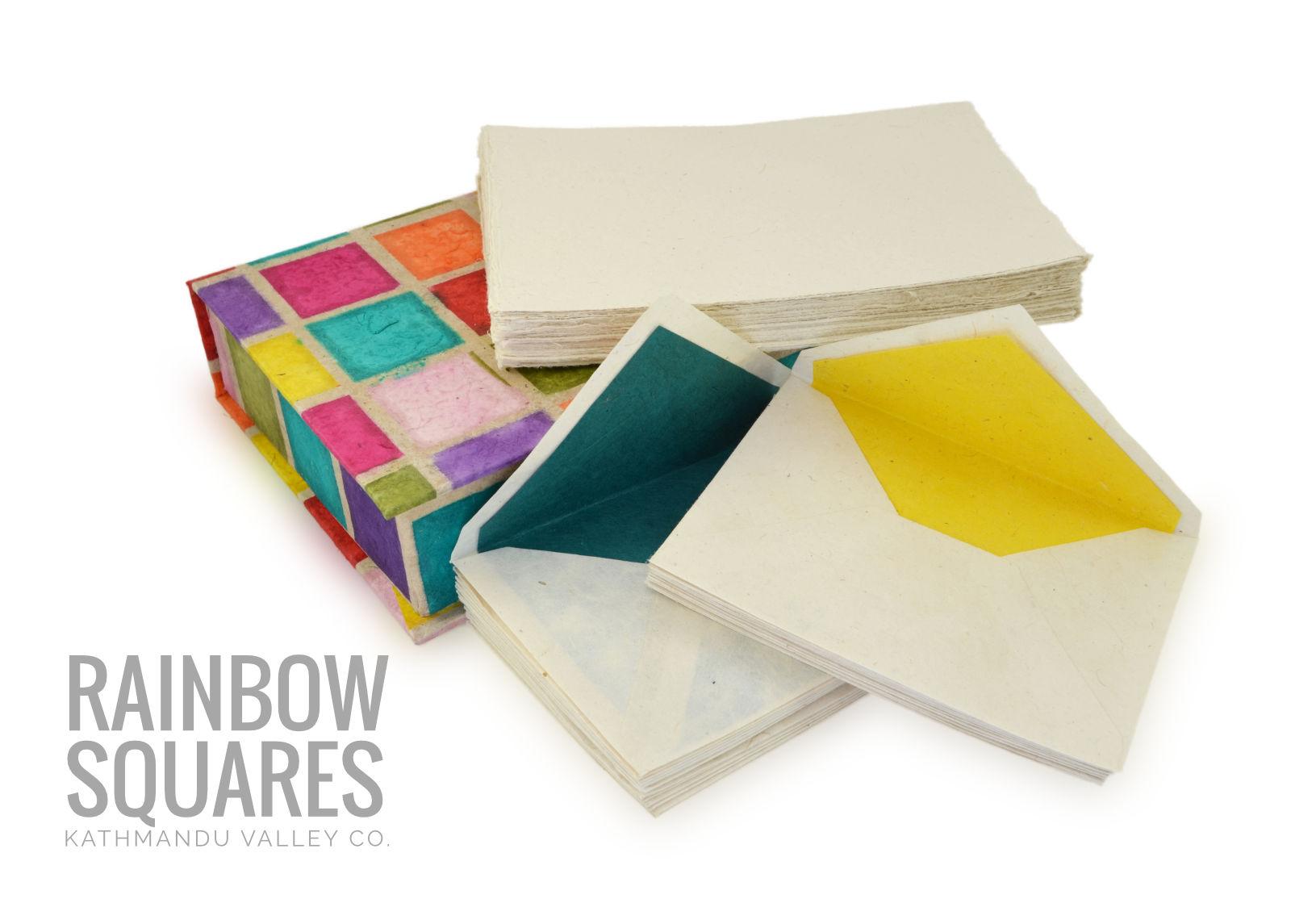 Kathmandu Valley Co. Stationery Gift Box Set Rainbow Squares